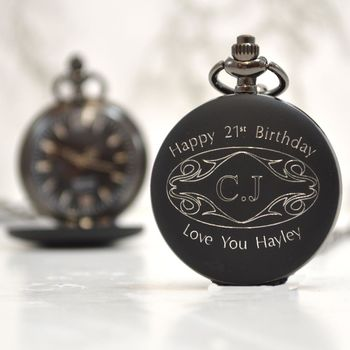 Engraved 21st Birthday Gift Pocket Watch Initials