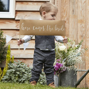 Here Comes The Bride Wedding Decoration Page Boy Sign