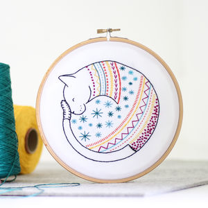 Cat Contemporary Embroidery Craft Kit - creative kits & experiences