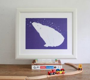 'Stargazing Polar Bear' Hand Signed Art Print - canvas prints & art