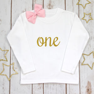 First Birthday Sparkle Tee Shirt - clothing