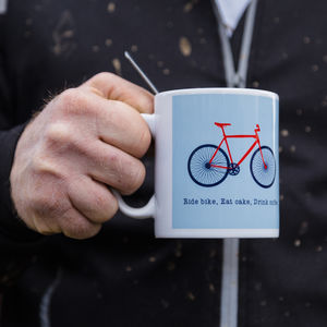 Ride Bike, Eat Cake, Drink Coffee Mug And Box - mugs