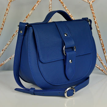 Handcrafted Blue Leather Saddle Bag