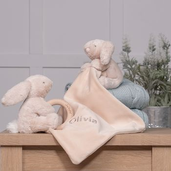 Personalised Shooshu Bunny Comforter And Ring Toy