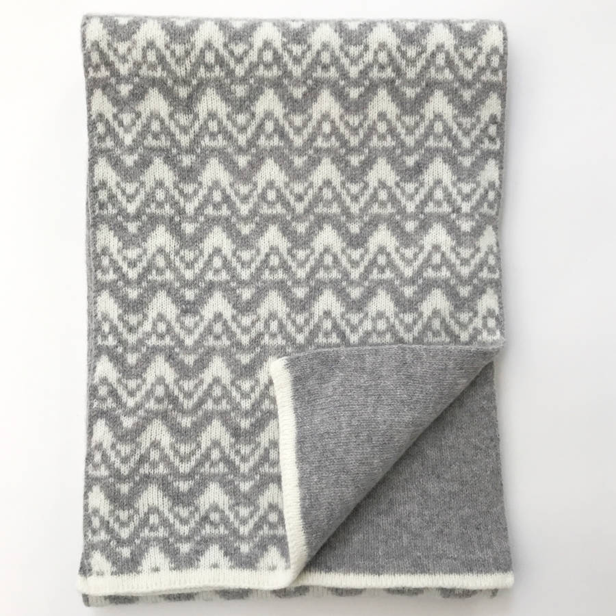 Knitting Patterns Wave Scarf : lambswool knitted blanket scarf with waves pattern by little knitted stars ...