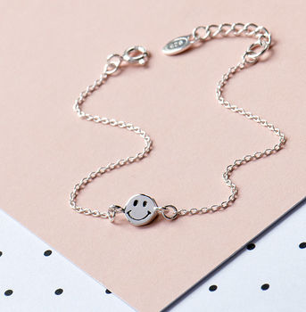 Smiley Face Emoji Bracelet In Sterling Silver