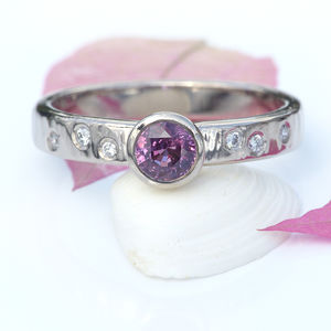 Raspberry Sapphire And Diamond Ring - unusual engagement rings