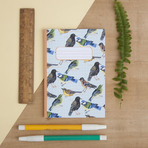 British Garden Birds Print Pocket Notebook