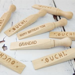 Personalised Ouch Wooden Door Wedge - door stops & draught excluders