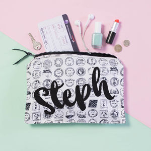 Personalised Travel Stamp Accessory Pouch