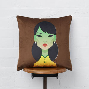 Green Lady Velvet Scatter Cushion - decorative accessories