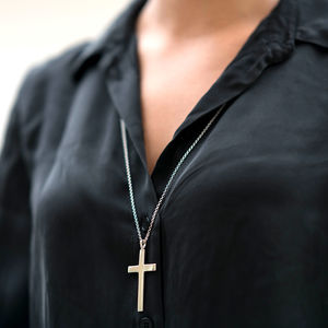 Big Solid Silver Cross - necklaces