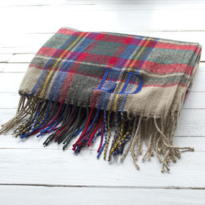 Embroidered Tartan Oversized Scarf - mens