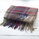 Embroidered Tartan Oversized Scarf