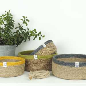 Shallow Jute And Seagrass Baskets - bedroom