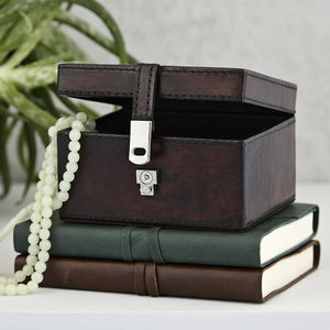 Personalised Leather Stud Keepsake Box - jewellery storage & trinket boxes