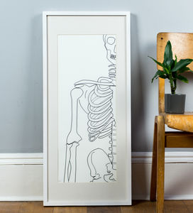 Framed Original 2D Wire 'Inside' Skeleton Artwork