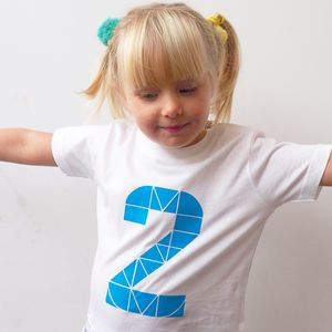 Kids Birthday Number Short Sleeve White T Shirt - clothing