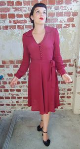 1946 Authentic Vintage Style Dress In 40's Red - women's fashion