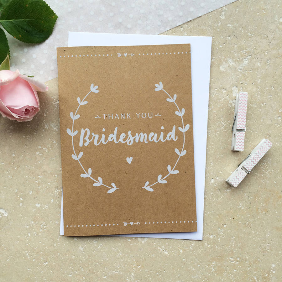 how to write thank you notes for wedding gift cards%0A Bridesmaid Thank You Card