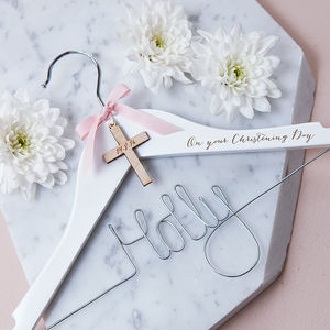 Personalised Engraved Cross Christening Hanger - christening wear
