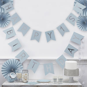 Pastel Blue And Silver 'Happy 1st Birthday' Bunting - decoration