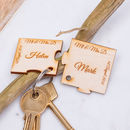 Personalised Wooden Mr And Mrs Jigsaw Puzzle Keyring