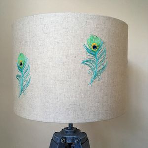 Peacock Feather Embroidered Linen Lampshade