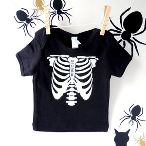 Personalised Glow In The Dark Skeleton T Shirt - halloween with a twist