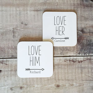 Personalised 'Love Him Love Her' Couples Coaster Set