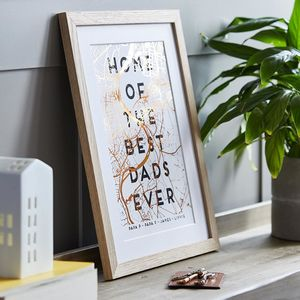 Metallic Map And Personalised Typography Print - gifts for fathers