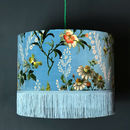 Flora X Fauna Floral Velvet Lampshades In Duck Egg Blue