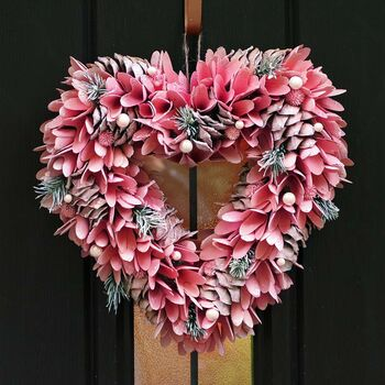 Frosted Pink Heart Luxury Christmas Wreath