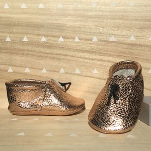 Rose Gold Textured Leather Baby Booties