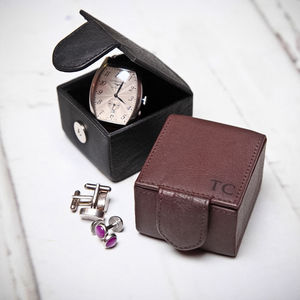 Personalised Leather Cufflink Jewellery Box