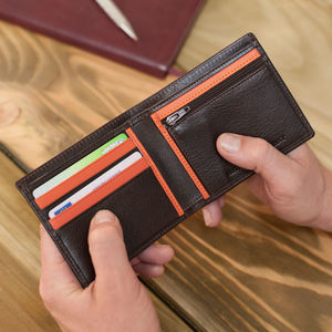 Personalised Italian Leather Wallet With Coin Section - wallets & money clips