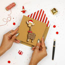 Handmade Christmas Giraffe In Santa Hat Christmas Card