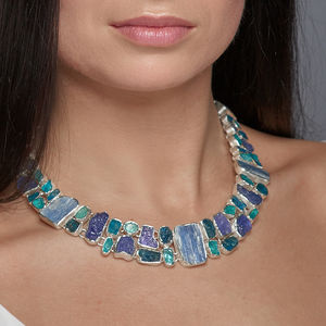 Apatite, Tanzanite And Kyanite Gemstone Necklace
