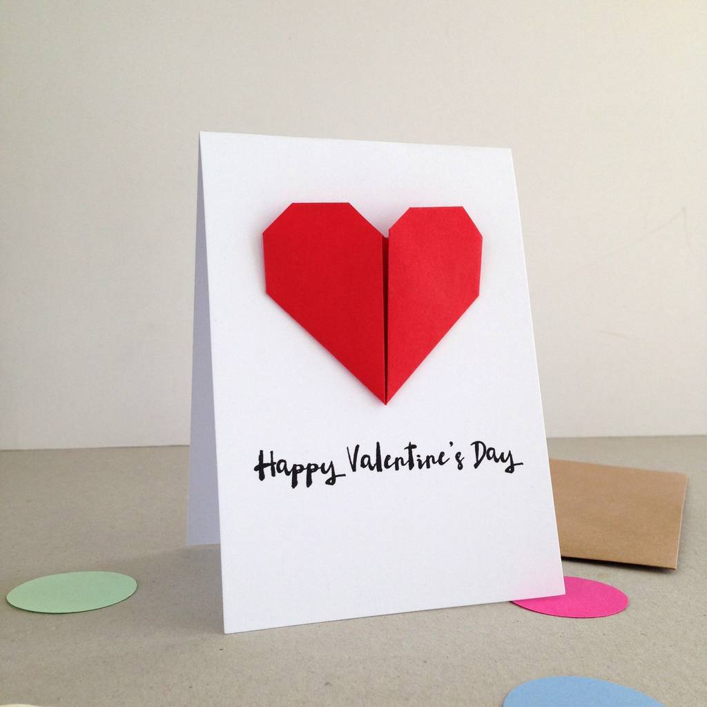 personalised origami heart valentines day card by louise