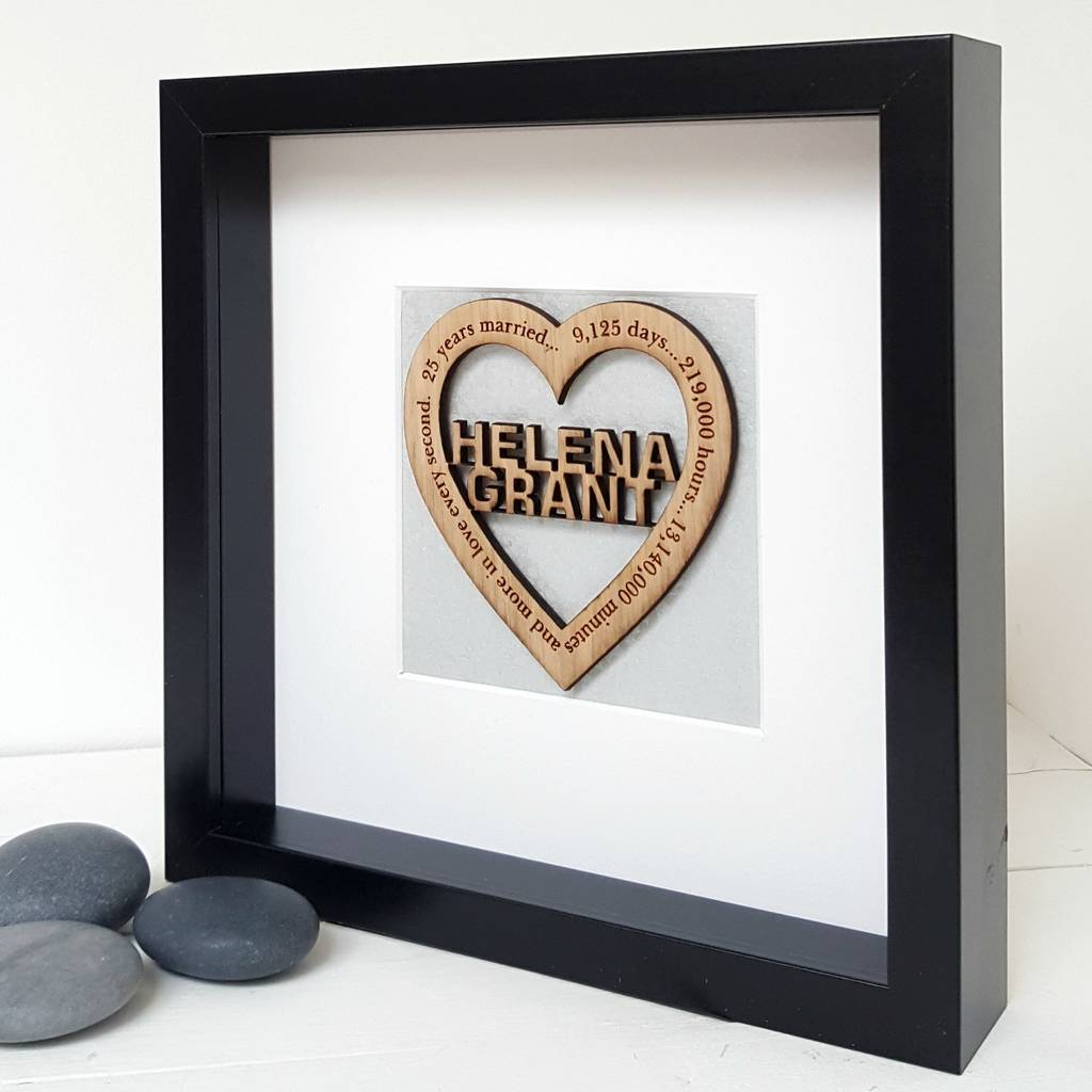 25th Silver Wedding Anniversary Personalised Oak Heart By Little