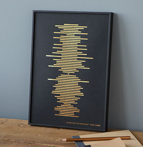 Minimalist Metallic Soundwave Print - personalised gifts