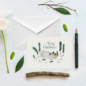 Rhino Merry Christmas Card - cards