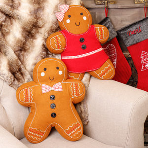 Gingerbread Man And Woman Decorative Festive Cushions