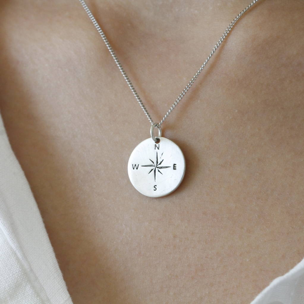 north sterling silver pendant star customized compass jewelry petalbox dogeared necklace
