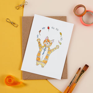 Juggling Cat Card - blank cards