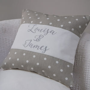 Grey Spotty Couples Cushion - living room