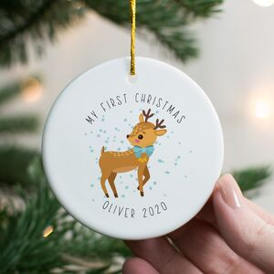 Personalised 1st Christmas Deer Decoration