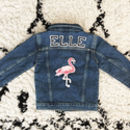 Kids Personalised Denim Jacket Special Edition Flamingo