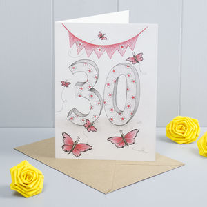 Happy 30th Birthday Greeting Card Butterflies