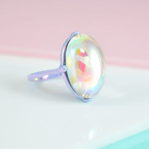 Lilac Crystal Cocktail Ring - rings